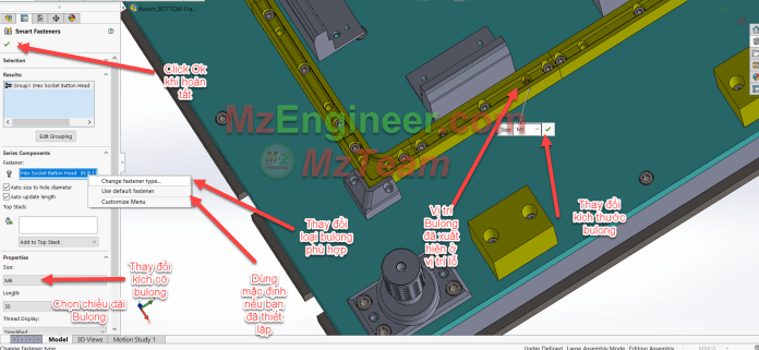 Sử dụng Smart Fastener Trong Solidworks Step 3