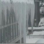 体育館の屋根で氷瀑祭り