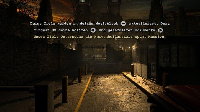 Das Spiel erklärt die Steuerung, um Notizen, Dokumente und Missionsziele aufzurufen.