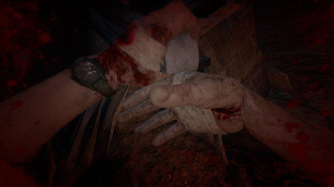 Bild zeigt, wie Blake Verbände anlegt, um sich zu heilen; Outlast 2