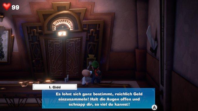 Das Foto zeigt den Professor und Luigi vor dem Aufzug. Der Professor rät Luigi, viel Geld einzusammeln.
