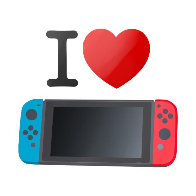 """Das Foto zeigt """"I"""", dann ein Herz und darunter eine gezeichnete Nintendo Switch; Nintendo Switch-Reise."""