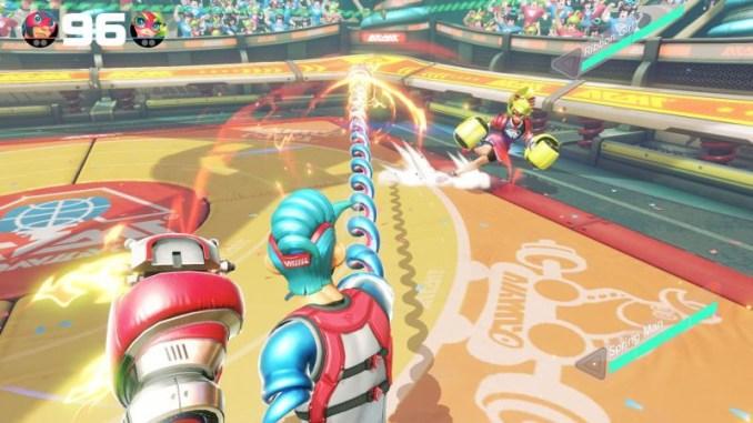 Das Foto zeigt eine Kampfszene zwischen Springman und Ribbon Girl aus ARMS.