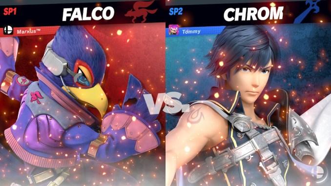 Das Foto zeigt die Gegenüberstellung vor Kampfbeginn von Falco und Chrom.