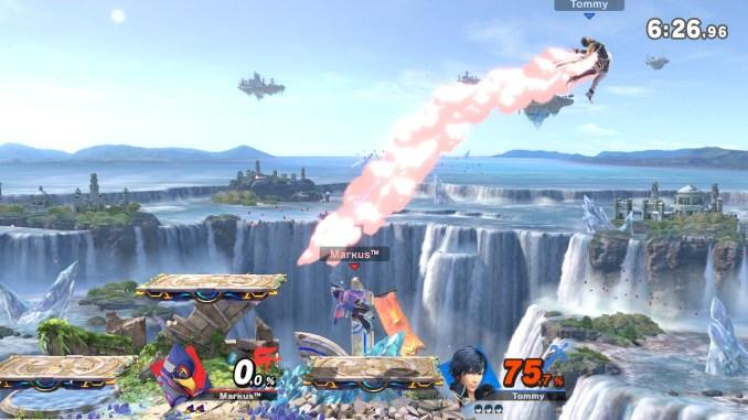 Das Foto zeigt, wie Falco Chrom nach rechts außerhalb der Stage kickt.