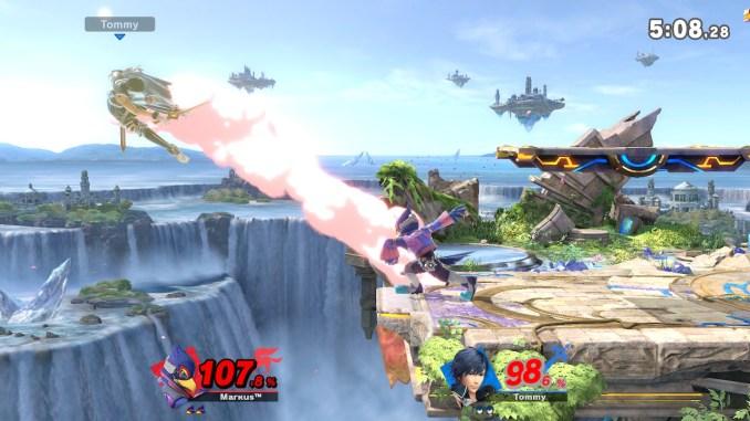 Das Foto zeigt, wie Falco Chrom nach links von der Stage haut. Bei seiner Stellung schaut es vermeindlich so aus, als hätte er Chrom einfach geboxt.