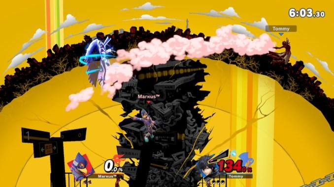 Das Foto zeigt, wie Joker Arsene nach einem Gegentreffer verliert und Falco in der Mitte ist. Es schaut aus, als wenn Falco auf Arsene zeigt.