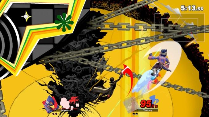 Das Foto zeigt ein Edge Guarding von Joker gegen Falco auf der rechten Seite der Stage.