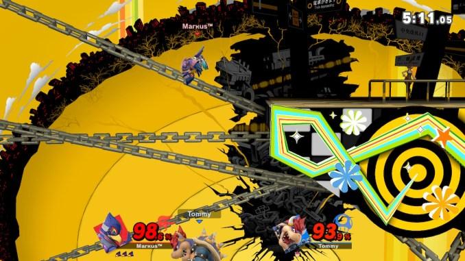 Das Foto zeigt, wie Falco einen Rolle in der Luft vollführt und Bowser unterhalb der Stage auf der linken Seite.