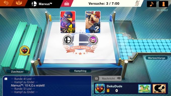 Das Foto zeigt die Lobby und dass Falco gegen Bowser gewonnen hat.
