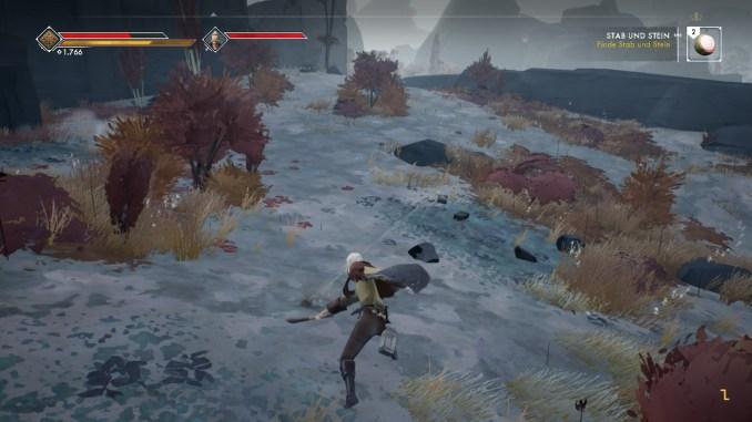 Das Foto zeigt einen mächtigen Schlag der Spielfigur aus Ashen.