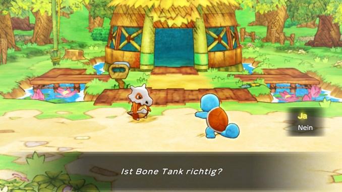 """Das Foto zeigt Schiggy und Tragosso vor dem Unterschlupf. Der zuvor ausgewählte Retterteam-Name """"Bone Tank"""" wird eingeblendet."""