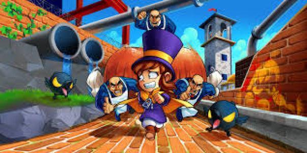 Auf dem Bild ist eine Szene aus dem Spiel A Hat in Time zu sehen. Hat Kid ist auf der Flucht vor ihren Feinden, darunter die Mafia-Männer und dunkle Vögel.