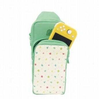 Ein neues Zubehör, ein Rucksack im Animal Crossing-Design ist abgebildet. Im Rucksack hat eine Nintendo Switch und ihr Zubehör Platz. Er ist grün, mit weißen Applikationen vorne.