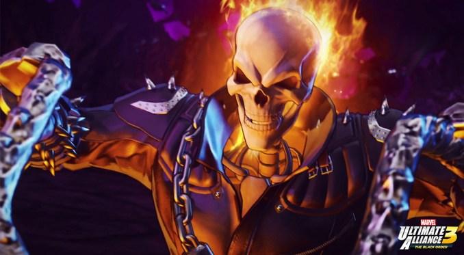 """Das Bild zeigt den ,,Ghost Rider"""" in voller Pracht aus Marvel Ultimate Alliance 3."""