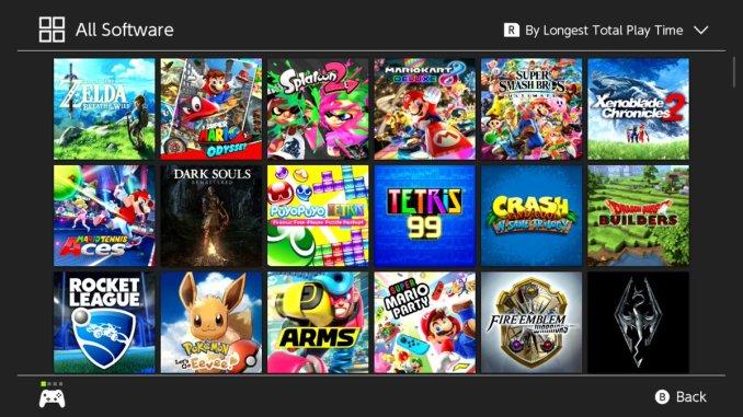 Das Foto zeigt eine Gesamtübersicht aller gezockten Titel aus dem Nintendo Switch Home-Menü.