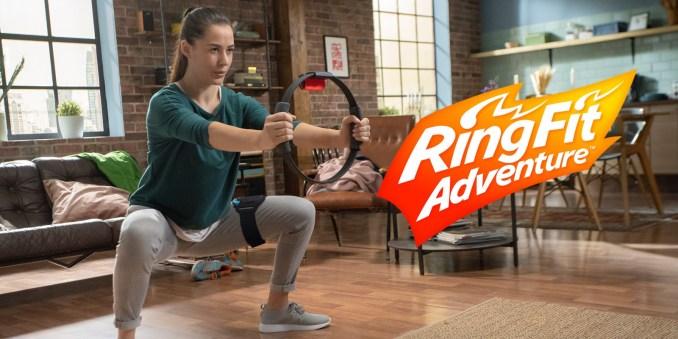 Das Foto zeigt eine anstrengende Haltung aus Ring Fit Adventure.