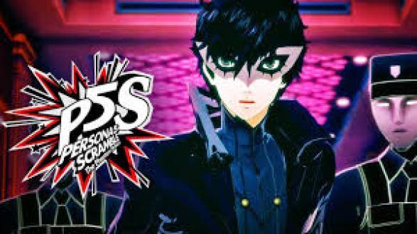 Auf dem Bild ist der Protagonist des Spiels Persona 5 Scramble: The Phantom Stricker zu sehen. Er hat schwarzes Haar und trägt eine weiße Maske über den Augen. Im Hintergrund sieht man eine Person in Uniform.
