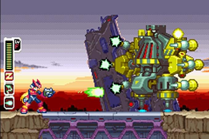 Das Bild zeigt einen Ausschnitt mit dem roten Bomber Zero, zuerst vorgestellt in Mega Man X