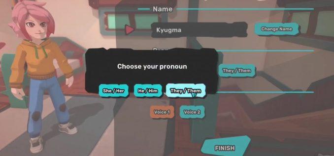 Das Fenster zeigt die Charaktererstellung von TemTem. Als Geschlecht stehen zuer Auswahl She/Her, He/Him und They/Them.