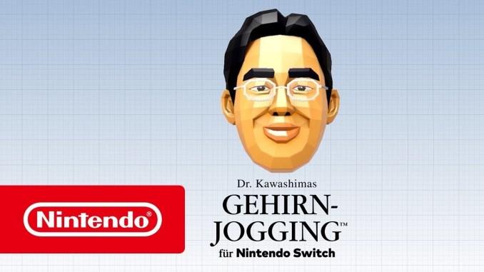 Das Foto zeigt das Gesicht von Dr- Kawashima und das Nintendologo.
