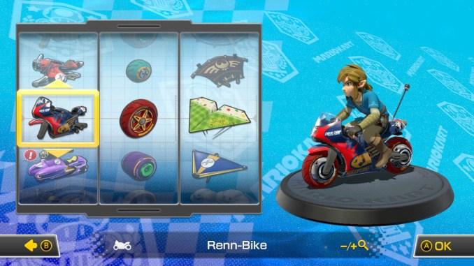 Das Bild zeigt die Kartauswahl. Zu sehen ist Link auf einem Bike.