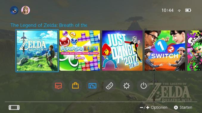 Das Foto zeigt das Home-Menü der Nintendo Switch. Man sieht, wie die Games nebeneinander aufgereiht sind.
