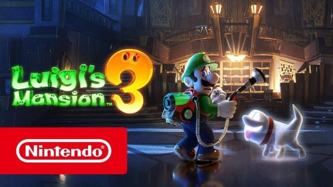 Das Foto zeigt ein Werbebild zu Luigi's Mansion 3. Zu sehen sind Luigi und sein Polterpinscher am Empfang des Gruselhotels.