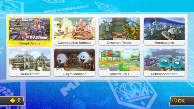Das Bild zeigt die 8 Arenen im Schlacht-Modus.