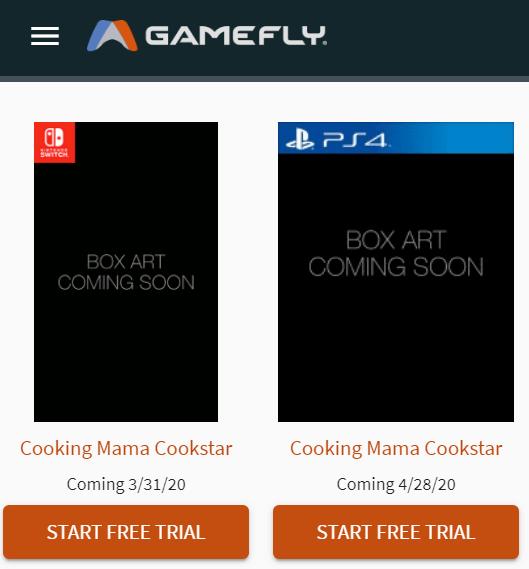 Das Bild zeigt die gelisteten Versionen von Cooking Mama: Cookstar auf Gamefly.