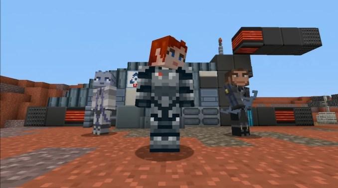Das Bild zeigt Mass Effect-Skins in Minecraft.