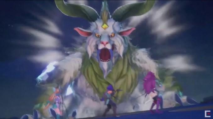 Das Bild zeigt einen Benevondon, ein schreckliches Monster der Zerstörung in dem Spiel Trials of Mana. Vom Aussehen her ähnelt dieses einer Ziege mit zwei gedrehten Hörnern.