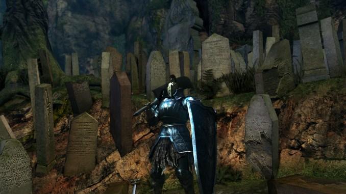 Dieses Bild zeigt einen Bulk God genannten Build aus Dark Souls. Ein absoluter Tank, vor dem Friedhof stehend.