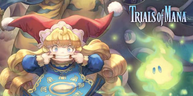 Das Bild zeigt Charlotte, einen der sechs spielbaren Charaktere in Trails of Mana. Sie ist relativ klein und ihre Haare reichen ihr bis zu den Kniekehlen. Auf ihrem Kopf trägt sie einen roten Hut, der sehr stark an eine Clowns-Kappe erinnert. Ihr Outfit ist blau.
