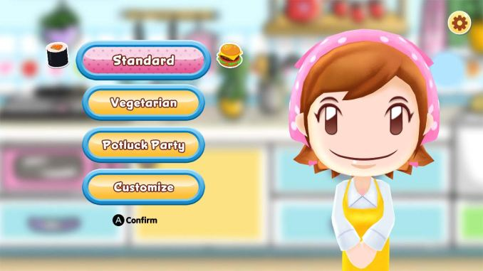 Das Bild zeigt die wichtigste Person in Cooking Mama: Die Mama. Neben ihr ist ein Menü zu sehen. Zur Auswahl stehen zum Beispiel folgende Funktionen: Standard oder Vegetarisch.