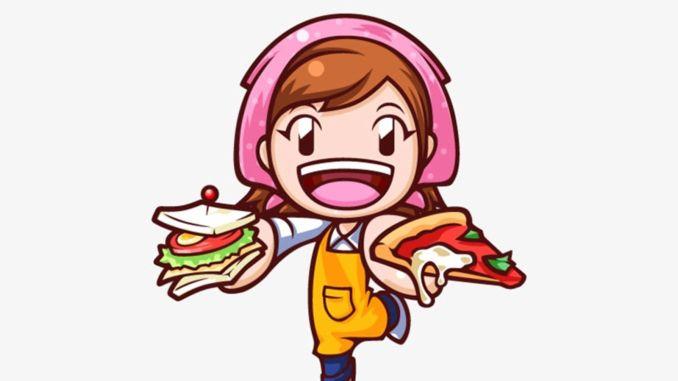 Das Bild zeigt die wichtigste Bezugsperson von Cooking Mama: Die Mama- Sie hält ein Sandwich und eine Pizza in der Hand.