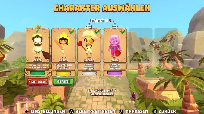 Die Charakterauswahl in Marooners wird dargestellt. Man erkennt vier Spieler, jeder hat seinen liebsten Charakter gewählt. Darunter sind auch zwei Boots.