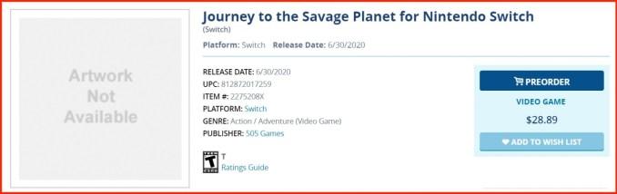 Das Bild zeigt den Eintrag von Journey To The Savage Planet