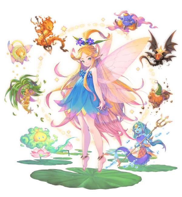 Das Bild zeigt die Fee und die acht Elementargeister aus Trails of Mana. Die Geister sind ihrem Element entsprechend unterschiedlich designt. Die Fee trägt ein blaues Kleid. Ihre Haare sind blond mit rosanen Spitzen.