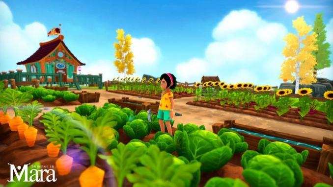 Das Bild zeigt den landwirtschaftlichen Aspekt von Summer in Mara. Koa, die Protagonistin steht inmitten eines bepflanzten Feldes. Man erkennt Sonnenblumen, Karotten und Kohl. Der Himmel ist strahlend blau.