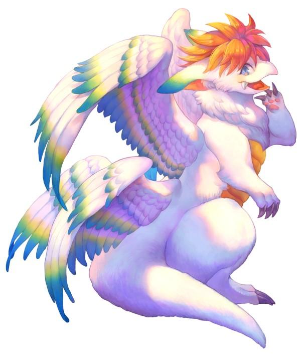 Das Bild zeigt die Kreatur Flammie aus Trials of Mana. Es handelt sich um einen kindlich wirkenden geflügelten Drachen, welcher euch über die Karte fliegen kann. Sein Fell ist weiß, seine Flügel sind weiß mit blauen Federspitzen.