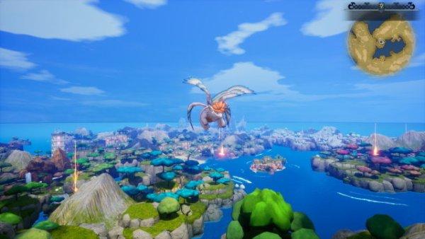 Das Bild zeigt Flammie, welche über die Karte von Trials of Mana fliegt um den Charakteren den Weg zu verkürzen.