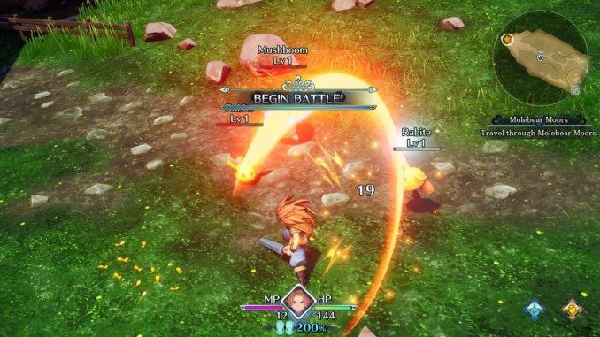 Das Bild zeigt Duran in einem Kampf in Trials of Mana. Er kämpft mit einem Schwert, welches einen rot orangenen Lichtbogen in der Luft hinterlässt.