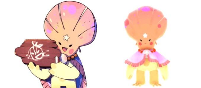 Das Bild zeigt Napopo, der zweite wichtige Charakter in Summer in Mara. Er hat eine Muschel in rosa als Kopf und auf seiner Stirn sitzt ein weißer Stern. Er trägt einen Poncho über den Schultern und eine Kette um den Hals. Sein Körper ist beige.