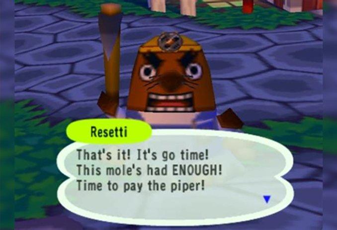 Das Bild zeigt den wohl am meisten diskutieren Charakter in Animal Crossing: Mr. Resetti. Auf dem Bild schreit er den Spieler an, weil er die Nase voll hat von ihm. Er hält eine Axt in der Hand und hat einen gelben Helm auf. Er stellt einen Maulwurf da. Das ist wissenswert.