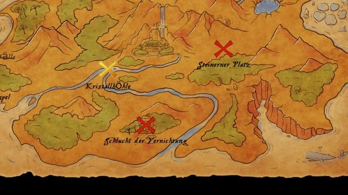 """Das Bild zeigt die Minispiel- und Arenakarte von Marooners. Durch """"X"""" werden die einzelnen Spielziele gekennzeichnet."""