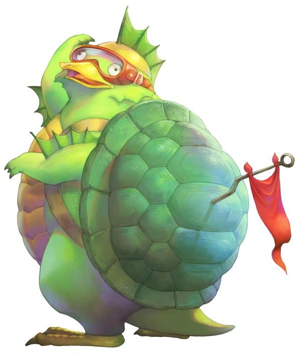 Das Bild zeigt einen Vuscav. Es handelt sich um Schildkröten ähnliche Wesen. Es träft eine Schwimmbrille und ein rote Farne auf dem Rücken. Seine Füße erinnern an einen Harbicht. Er ist einer von zwei Reittieren aus Trials of Mana.