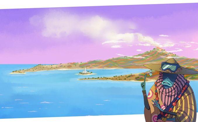 Das Bild zeigt die Wüsteninsel des Archipel. Sie ist vor allem in braun und in roten Farben gehalten. Sie wirkt unbewohnt. In der rechten unteren Ecke ist ein Einwohner zu sehen. Seine Haut ist blau, er ist vollständig in ein Gewand gehüllt. Auf dem Kopf trägt er einen Sonnenhut mit einer Sonnenbrille.
