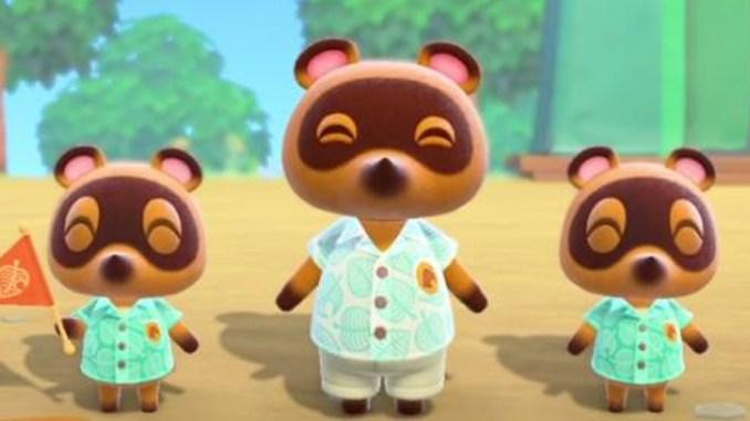 Das Bild zeit drei bekannte Charaktere aus dem Animal Crossing-Universum. Zu sehen sind die drei Waschbären Tom, Timmy und Tommy Nook.
