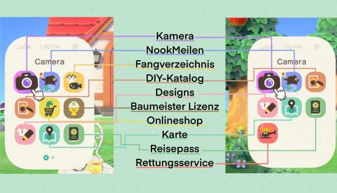 Dieses Bild zeigt Apps auf dem NookPhone von zwei verschiedenen Spielständen.